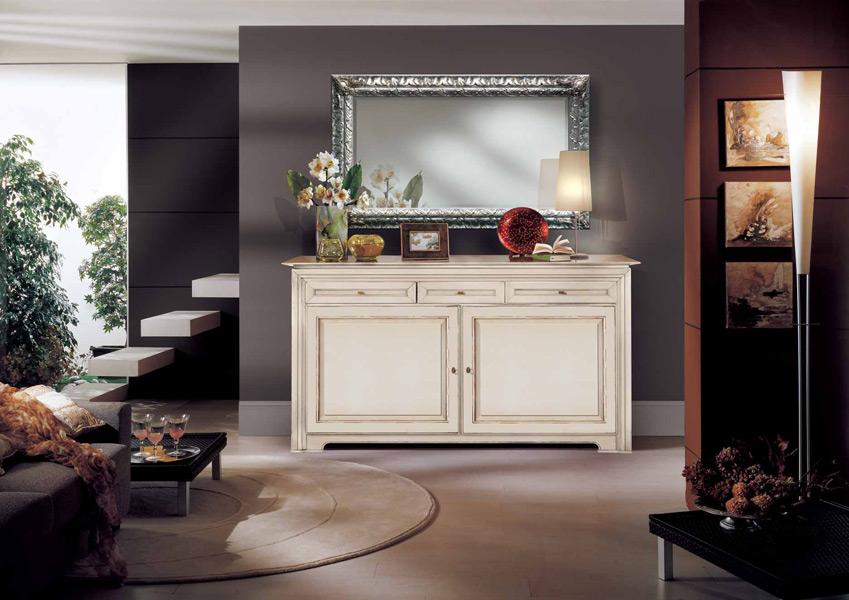 Credenza Classica Per Soggiorno : Credenza laccata bianco con ante bugnate e cassetti u prodotti