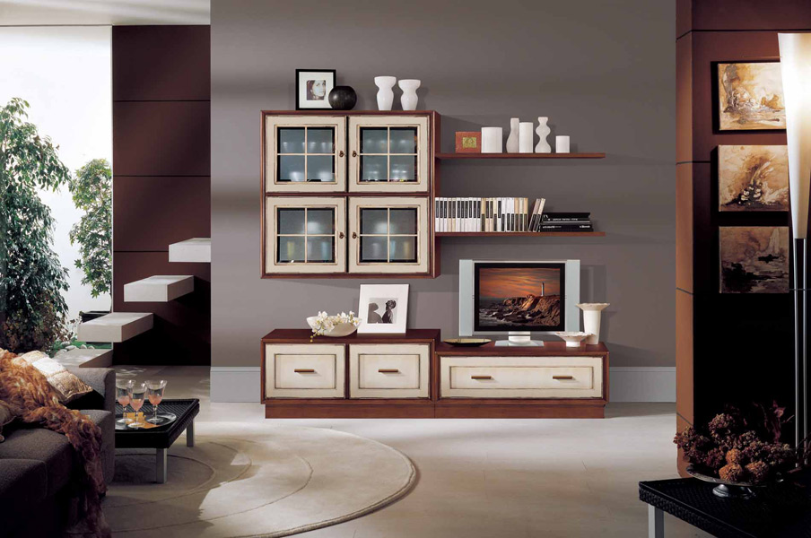Soggiorno componibile legno e laccato bianco – Prodotti – Marchetti ...