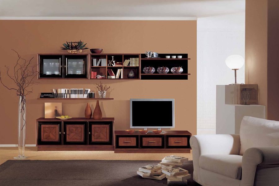 Soggiorno componibile legno e laccato nero con boserie – Prodotti – Marchetti Mobili