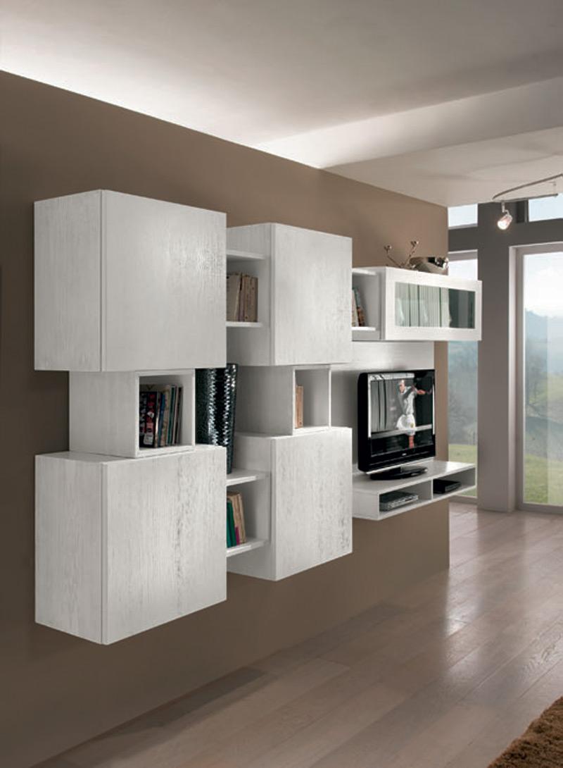 Composizione sospesa 1 vetrina 4 ante liscie prodotti marchetti mobili - Mobili marchetti ...