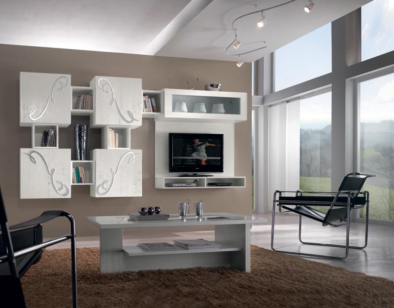 Composizione sospesa 1 vetrina 4 ante con decoro for Mobili soggiorno particolari